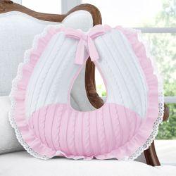 Almofada Amamentação com Babado e Renda Tricot Luxo Rosa