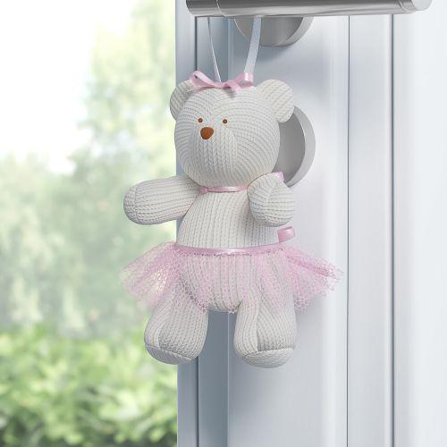 Ursa Petit Enfeite para Puxador Tricot Rosa