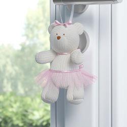 Enfeite para Puxador Ursa Tricot Luxo Rosa