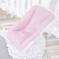 Capa para Bebê Conforto Poá Tricot Luxo Rosa