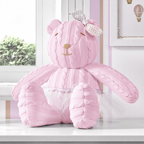 Ursa Clássica Tricot Luxo Rosa 42cm