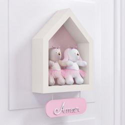 Porta Maternidade Nicho Casinha com Ursa e Coelha