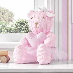 Ursa Clássica com Coração Tricot Luxo Rosa 42cm