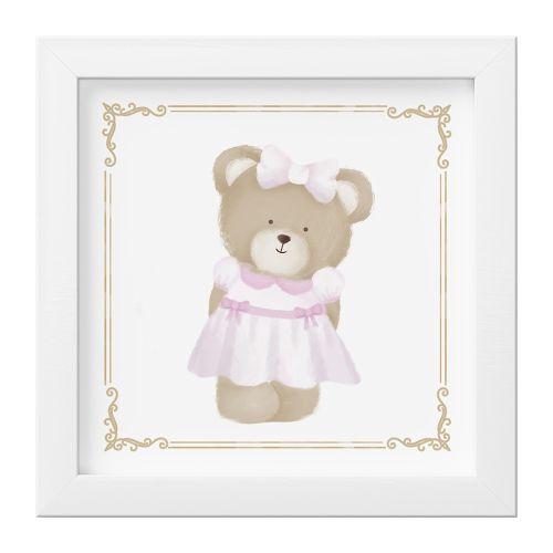 Quadro Ursa Luxo Rosa