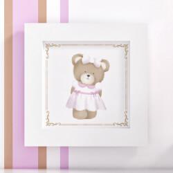 Quadro Ursa Tricot Luxo Rosa 20cm