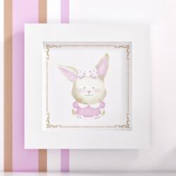 Quadro Coelha Tricot Luxo Rosa 20cm