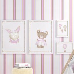 Quadros Balões, Ursa e Coelha Rosa