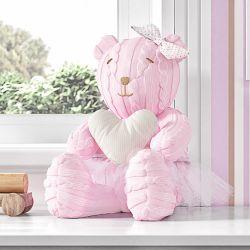 Ursa com Coração Areia Tricot Luxo Rosa 42cm