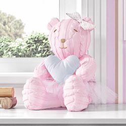 Ursa com Coração Azul Tricot Luxo Rosa 42cm