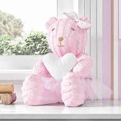 Ursa com Coração Branco Tricot Luxo Rosa 42cm