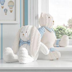 Urso e Coelho Tricot Luxo Azul 42cm