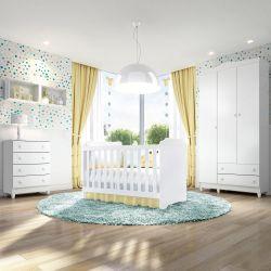 Quarto de Bebê Mel Flat com Berço/Cômoda/Guarda-Roupa de 3 Portas