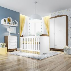 Quarto de Bebê Mel Flat Amadeirado com Berço/Cômoda/Guarda-Roupa de 3 Portas