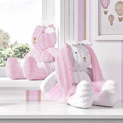 Ursa e Coelha Tricot Luxo Rosa 42cm