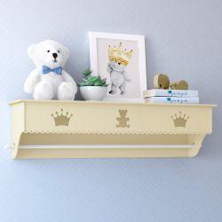 Prateleira com Varão Urso Realeza Amarelo Bebê