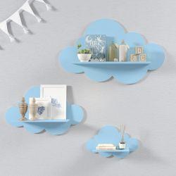 Trio de Prateleiras Nuvem Azul