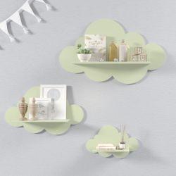 Trio de Prateleiras Nuvem Verde