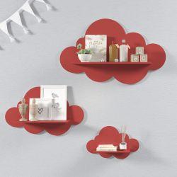 Trio de Prateleiras Nuvem Vermelha