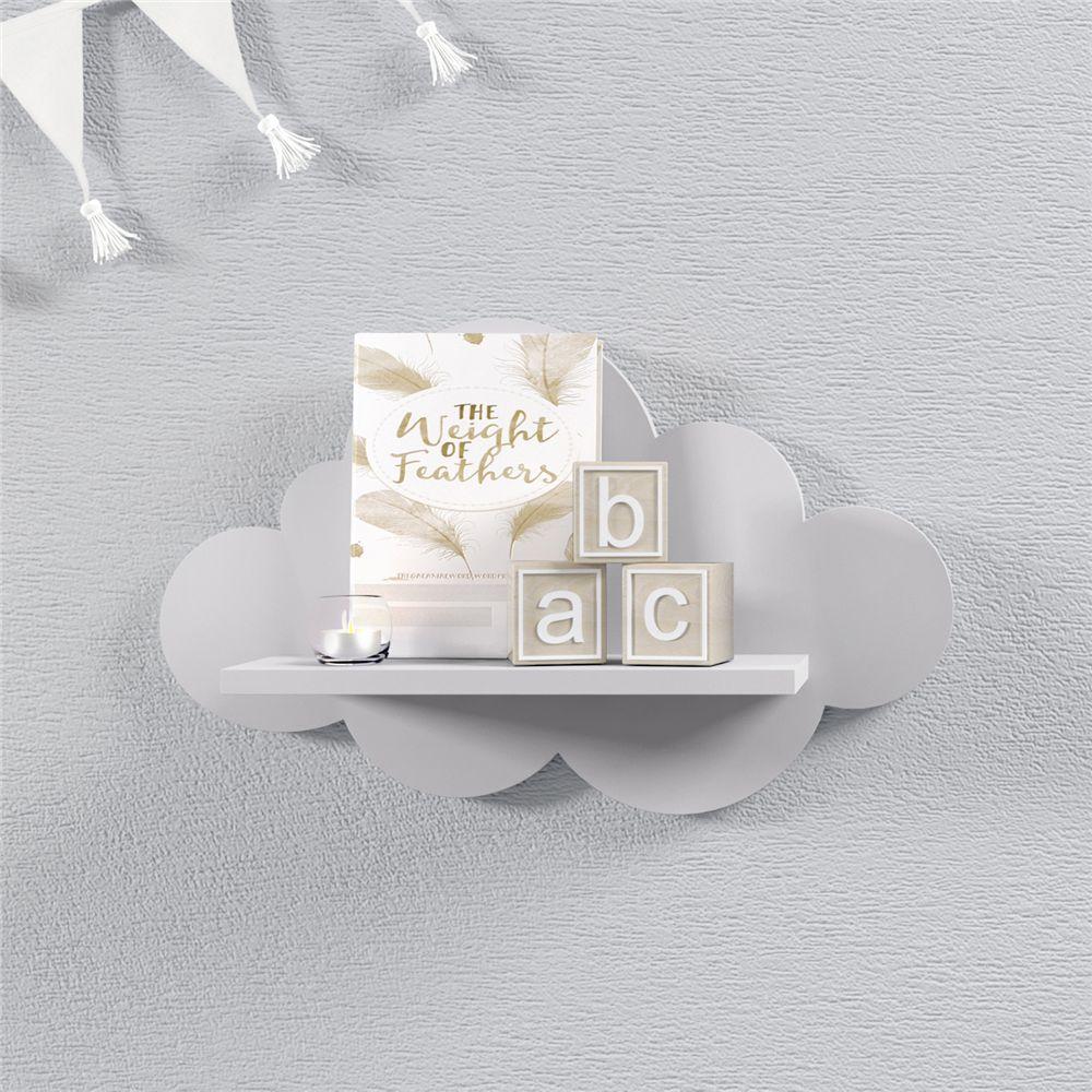Prateleira Nuvem Cinza Quarto Bebê MDF P 30cm Grão de Gente