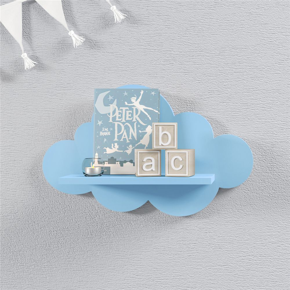 Prateleira Nuvem Azul Quarto Bebê MDF P 30cm Grão de Gente