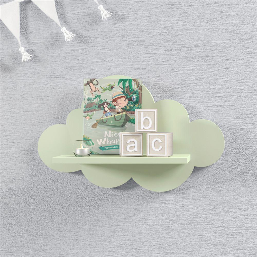 Prateleira Nuvem Verde Quarto Bebê MDF P 30cm Grão de Gente