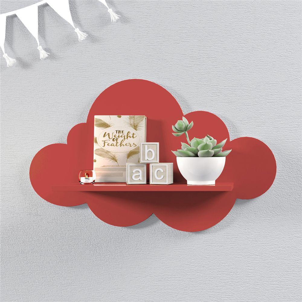 Prateleira Nuvem Vermelha MDF M 45cm Grão de Gente