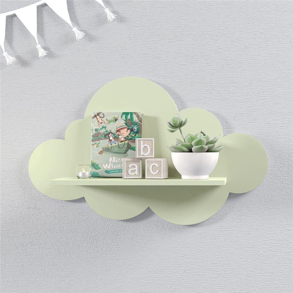 Prateleira Nuvem Verde Quarto Bebê MDF M 45cm Grão de Gente