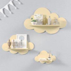 Trio de Prateleiras Nuvem Amarela Bebê