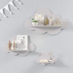 Trio de Prateleiras Nuvem Cinza