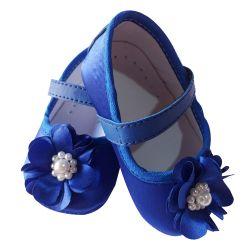 Sapatinho De Bebê com Flor e Pérolas Azul