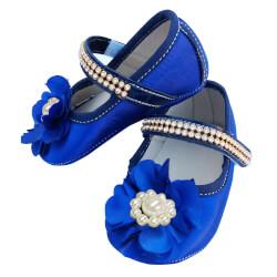 Sapatinho De Bebê com Flor e Strass Azul