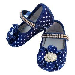 Sapatinho De Bebê com Flor e Strass Azul Marinho Poá