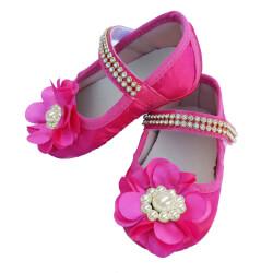 Sapatinho De Bebê com Flor e Strass Pink