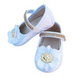 Sapatinho De Bebê com Flor e Strass Branco
