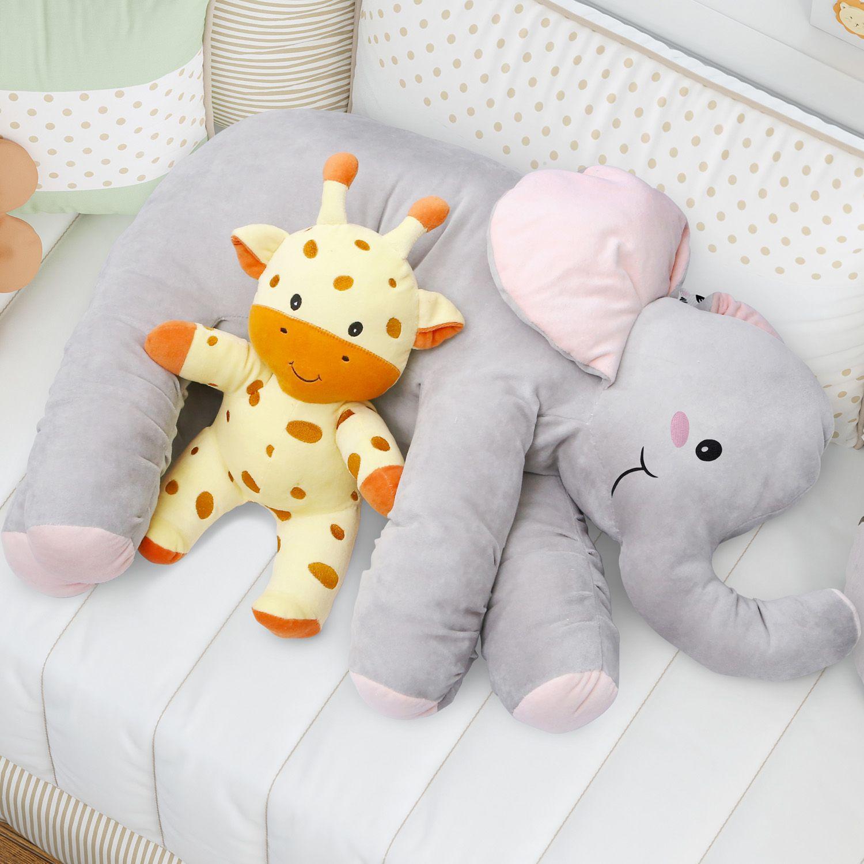 a1a5346e8a4572 Almofada Travesseiro Elefante de Pelúcia 82cm