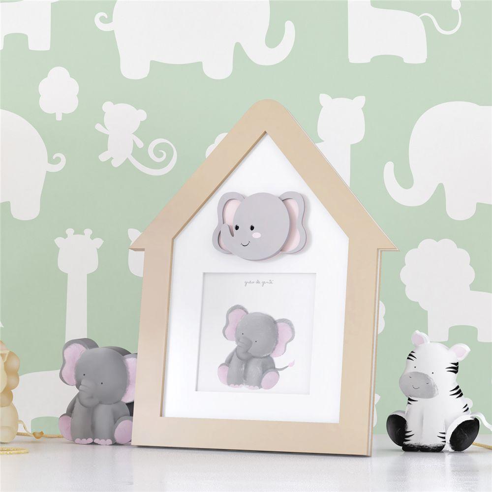 Porta Retrato MDF Bege Elefante 9cmx9cm Grão de Gente