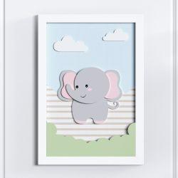 Quadro LED MDF Amiguinho Elefante 35cm