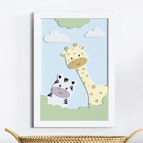 Quadro MDF Amiguinhas Zebra e Girafa 36cm