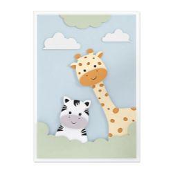 Quadro Amiguinhas Zebra e Girafa 36cm