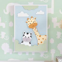 Quadro MDF Amiguinhas Zebra e Girafa 32cm