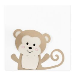 Quadro MDF Amiguinho Macaco 27cm
