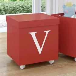 Caixa Organizadora para Brinquedos Vermelha com Inicial do Nome Personalizada