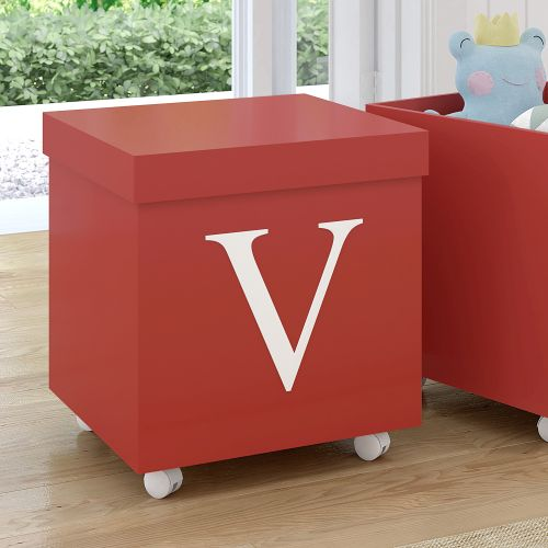 Caixa Organizadora para Brinquedos Vermelha com Inicial do Nome Personalizada - G