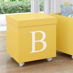 Caixa Organizadora para Brinquedos Amarela com Inicial do Nome Personalizada