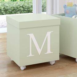 Caixa Organizadora para Brinquedos Verde com Inicial do Nome Personalizada