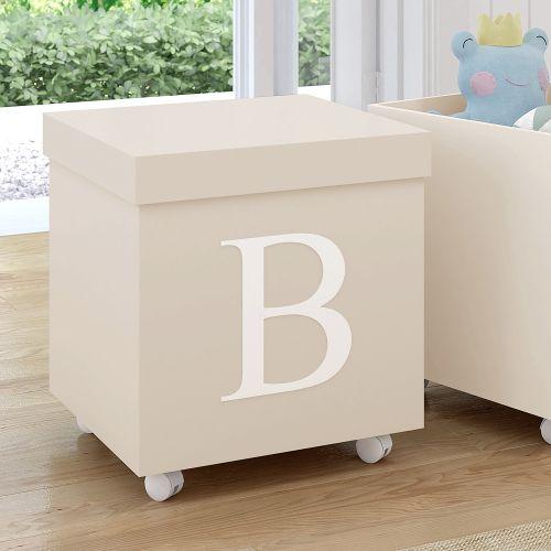 Caixa Organizadora para Brinquedos Bege com Inicial do Nome Personalizada