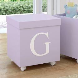 Caixa Organizadora para Brinquedos Lilás com Inicial do Nome Personalizada