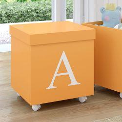 Caixa Organizadora para Brinquedos Laranja com Inicial do Nome Personalizada