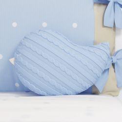 Almofada Naninha Passarinho Tricot Azul 30cm