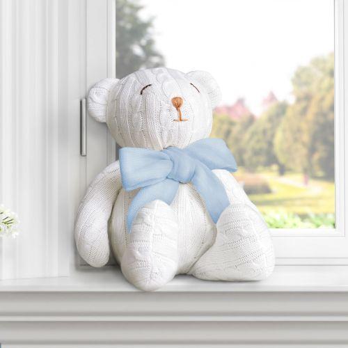 Urso Clássico Tricot Off White/Azul 42cm